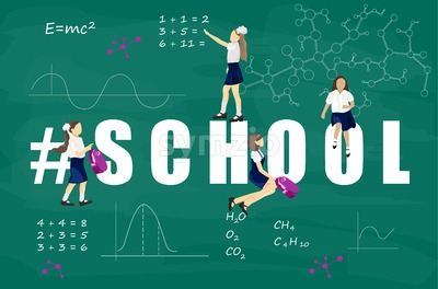 Back to school kids chalk board Vector. Green board with mathematics formula Stock Vector