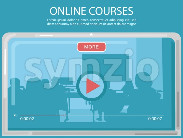 Online courses page template Vector. Education promotion sale advertise Stock Vector