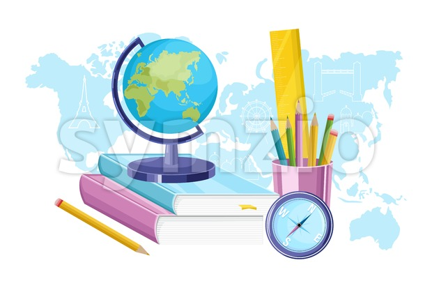 Geography supplies Vector flat style. Globus, map discover. Education course Stock Vector