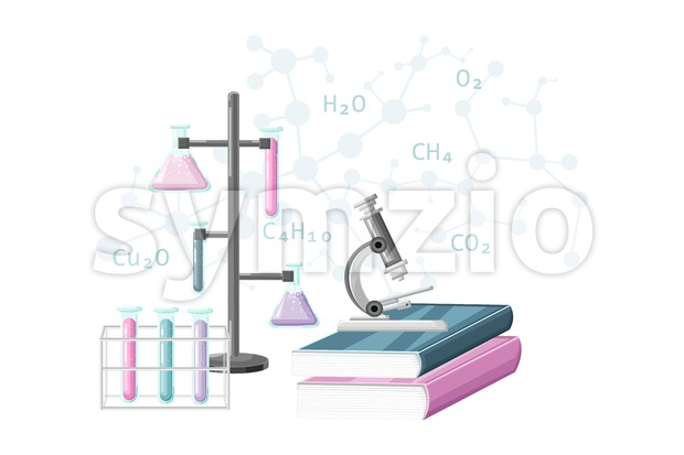 Chemistry learning supplies Vector flat style. Laboratory course education formulas test tubes Stock Vector