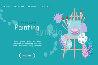 Art studio painting course Vector flat style. Page template online creativity courses Stock Vector
