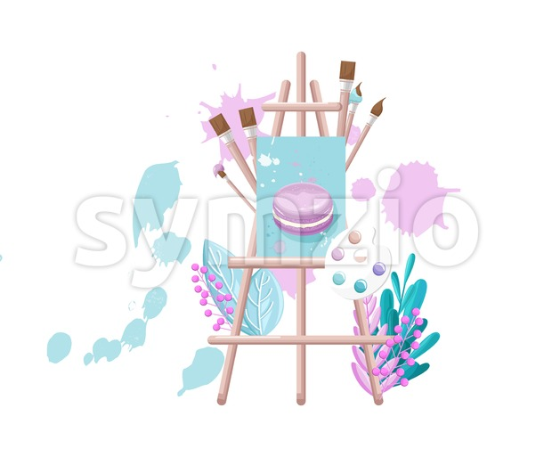 Painting board Vector watercolor. Painting brushes and creative decor Stock Vector