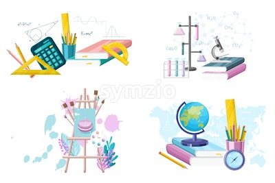 School set supplies collection. Mathematics. geography, chemistry and painting supplies set Vector flat style. Main courses illustrate Stock Vector