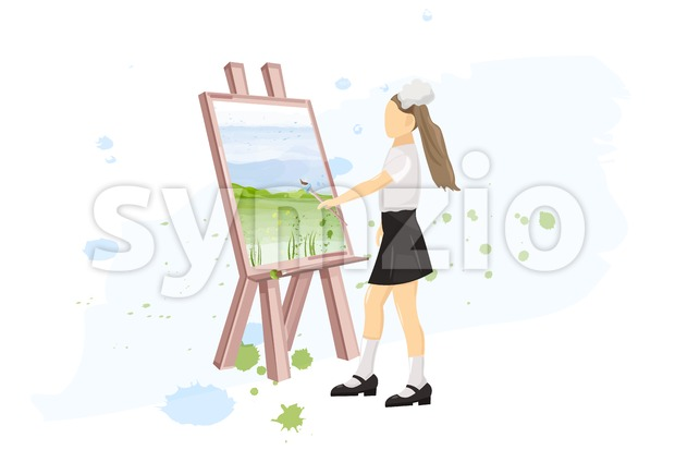 School girl painting creativity lesson Vector flat style. Back to school Stock Vector