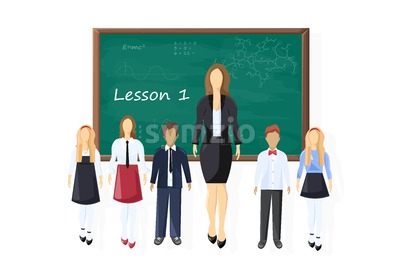Back to school kids and teacher at the chalk board Vector. First lesson concept. Green board with mathematics formula Stock Vector