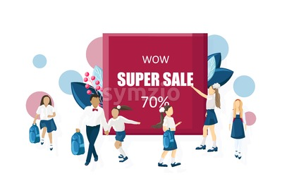 School sale poster Vector flat style. Kids back to school moments banner Stock Vector