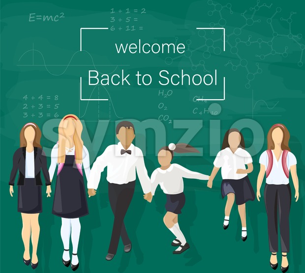 Back to school kids at the chalk board Vector. Green board with mathematics formulas illustration Stock Vector