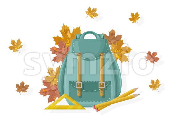 Back to school backpack Vector. Fall autumn posters flat style leaves Stock Vector