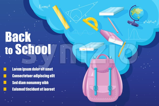 Back to school backpack Vector. Sale promotion advertise banner Stock Vector