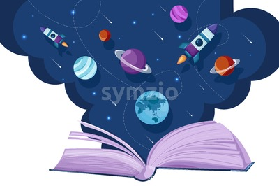 Open book universe reading fantasy Vector flat style. Creativity education reading concept Stock Vector