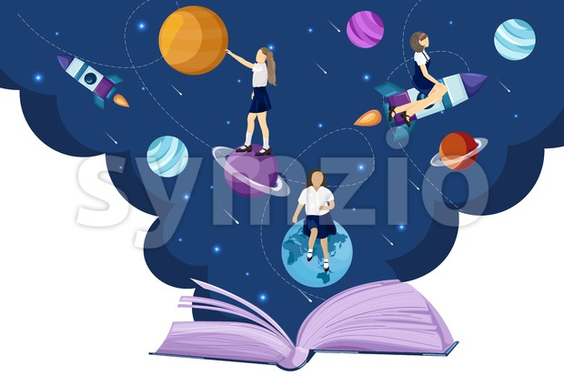 Open book universe reading fantasy Vector flat style. Creativity school kids education reading concept Stock Vector