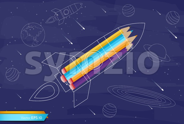 Rocket colorful crayons Vector flat style. Creativity school kids education concept Stock Vector