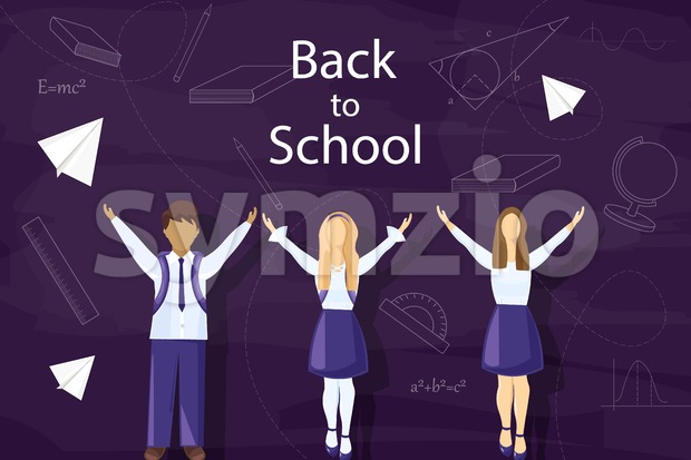 Happy kids back to school Vector. Pupils uniform dressed flat style Stock Vector