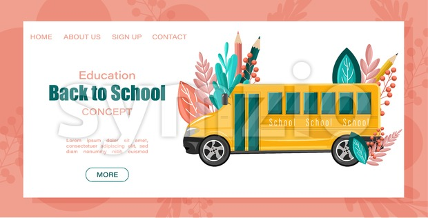 Back to school bus Vector poster. Autumn fall sale promotions template. Abstract brochure flat style Stock Vector
