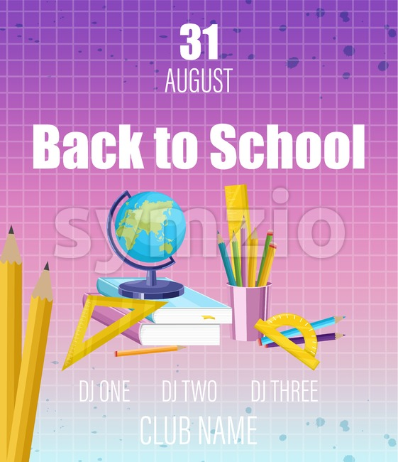 Back to school poster Vector flat style. School supplies sale promotion template. Fall autumn sale advertise banner Stock Vector