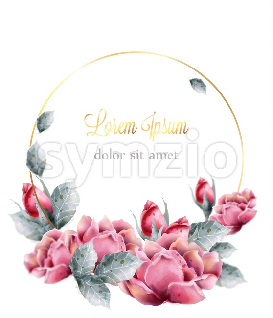 Roses flowers wedding wreath Vector watercolor frame. Delicate floral decor. Vintage card with pink flower bouquet