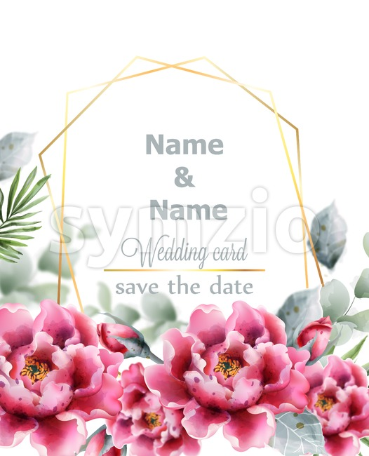 Peony flowers Vector watercolor frame. Delicate floral decor. Wedding card with pink flower bouquet