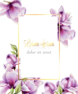 Wedding card with flowers Vector watercolor. Beautiful floral decor frame. Golden text Stock Vector