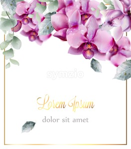 Wedding card with orchid flowers Vector watercolor. Beautiful floral decor frame. Golden text Stock Vector