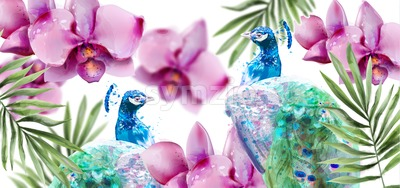 Peacock and Orchid flowers Vector watercolor. Summer floral pattern background Stock Vector