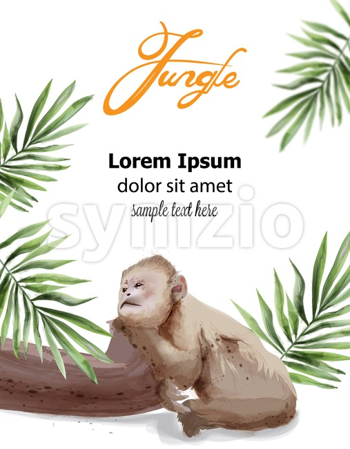Sad monkey Vector watercolor. Tropic jungle cover page