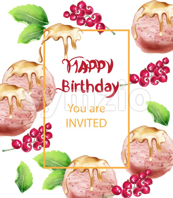 Birthday card with ice cream Vector watercolor. Sweet invitation party. Delicious banner