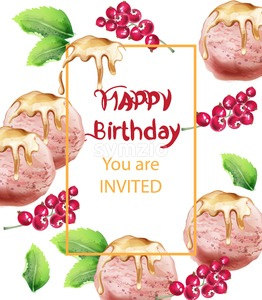 Birthday card with ice cream Vector watercolor. Sweet invitation party. Delicious banner Stock Vector