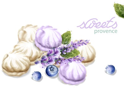 Meringue Vector watercolor. Lavender flavor dessert. Summer sweet delicious Stock Vector
