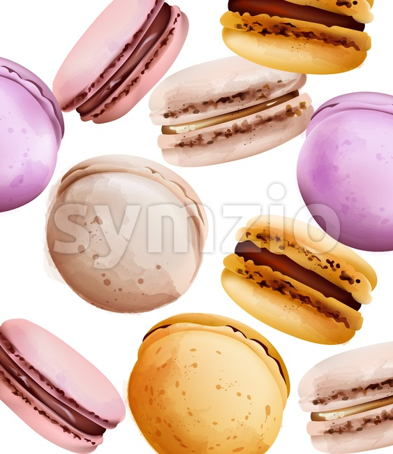 Macaroons Vector watercolor. Vintage pattern desserts with berry fruits. summer texture Stock Vector