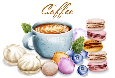 Coffee cup with sweets Vector watercolor. Macaroons and meringues. Breakfast desserts. Vintage style illustration Stock Vector