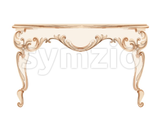 Baroque dressing table engraved. Vector French Luxury rich intricate ornamented structure. Victorian Royal Style decor