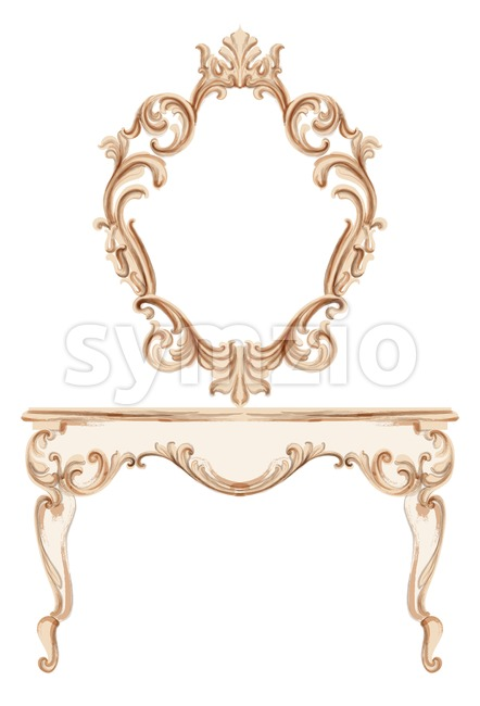 Exquisite Baroque dressing table engraved. Vector French Luxury rich intricate ornamented structure. Victorian Royal Style decor Stock Vector