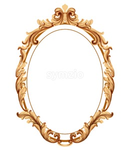 Vintage frame golden ornaments Vector watercolor. Baroque elegant decor. Victorian luxury craft Stock Vector