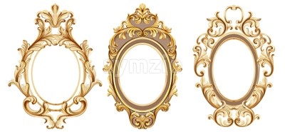 Vintage frames set Vector watercolor. Baroque elegant decor. Victorian luxury craft golden ornament Stock Vector