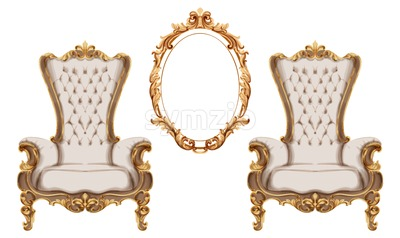 Baroque furniture set Vector watercolor. Luxurious ornaments French Luxury rich intricate structure. Victorian Royal Style decor Stock Vector