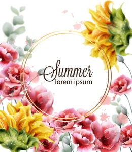 Poppy and sunflowers card Vector watercolor. Summer floral decor frame Stock Vector