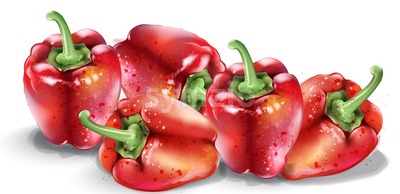Red pepper vector watercolor. Fresh healthy vegetables isolated on white Stock Vector