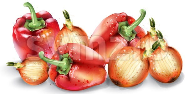 Vegetables watercolor Vector poster. Delicious tomatoes, red pepper and onions Stock Vector