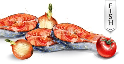 Salmon and veggies Vector watercolor. Fresh fish with onion and tomatoes. Delicious healthy meal illustration Stock Vector