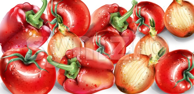 Vegetables watercolor Vector poster. Delicious tomatoes, red pepper and onions background. Summer healthy food Stock Vector