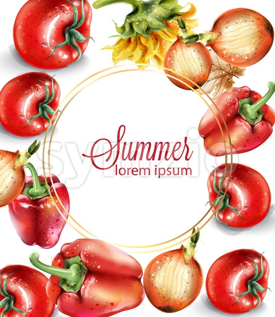 Vegetables watercolor Vector poster. Delicious tomatoes, red pepper and onions. Menu layout background. Summer healthy food Stock Vector