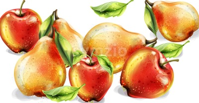 Apple, pear and peach Vector watercolor set. Colorful fruits detailed painted style Stock Vector