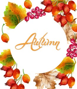 Autumn background Vector watercolor. Eglatine, fall leaves. Colorful card detailed painted style Stock Vector