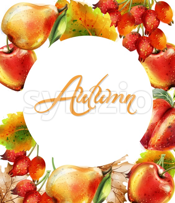 Autumn background with Apple, pear and peach Vector watercolor. Colorful card fruits detailed painted style Stock Vector