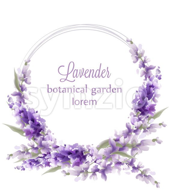 Lavender wreath card Vector watercolor. Flowers decor greeting. Vintage style bouquets and round decor. Provence wedding ceremony invitation Stock Vector