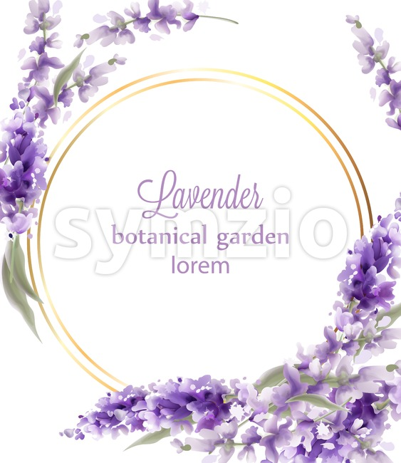 Lavender gold wreath card Vector watercolor. Flowers decor greeting. Vintage style bouquets and round circle. Provence wedding ceremony invitation Stock Vector