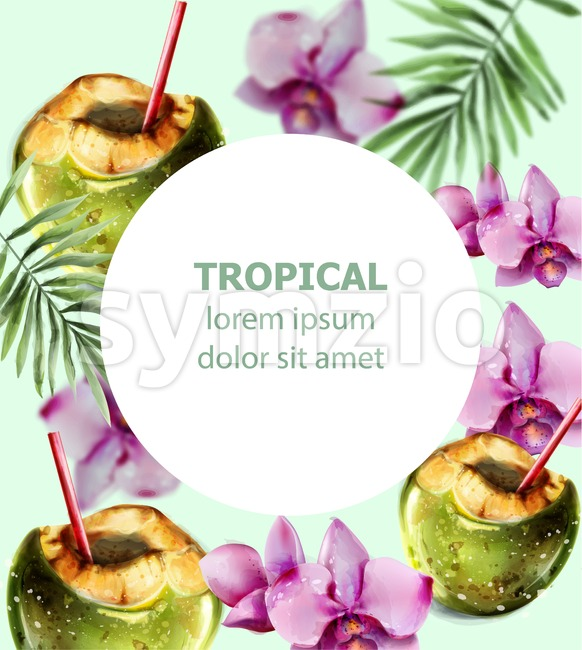 Coconut cocktail tropic card vector. Colorful orchid flowers and coconut drink summer hot exotic poster Stock Vector
