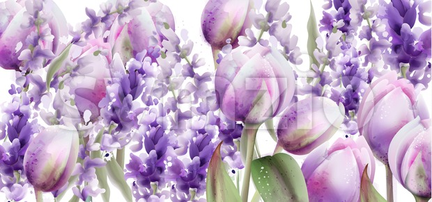 Tulips and lavender watercolor Vector. Spring summer floral bouquet. Wedding ceremony invitation decor. Pastel lavender colors decor Stock Vector