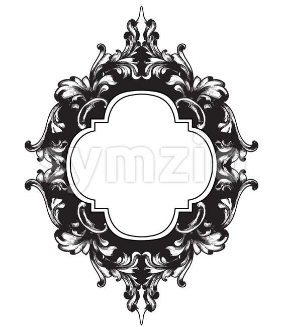 Vintage frame Vector line art. Classic engraved ornaments. Royal style