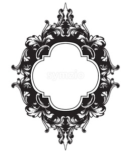 Vintage frame Vector line art. Classic engraved ornaments. Royal style Stock Vector